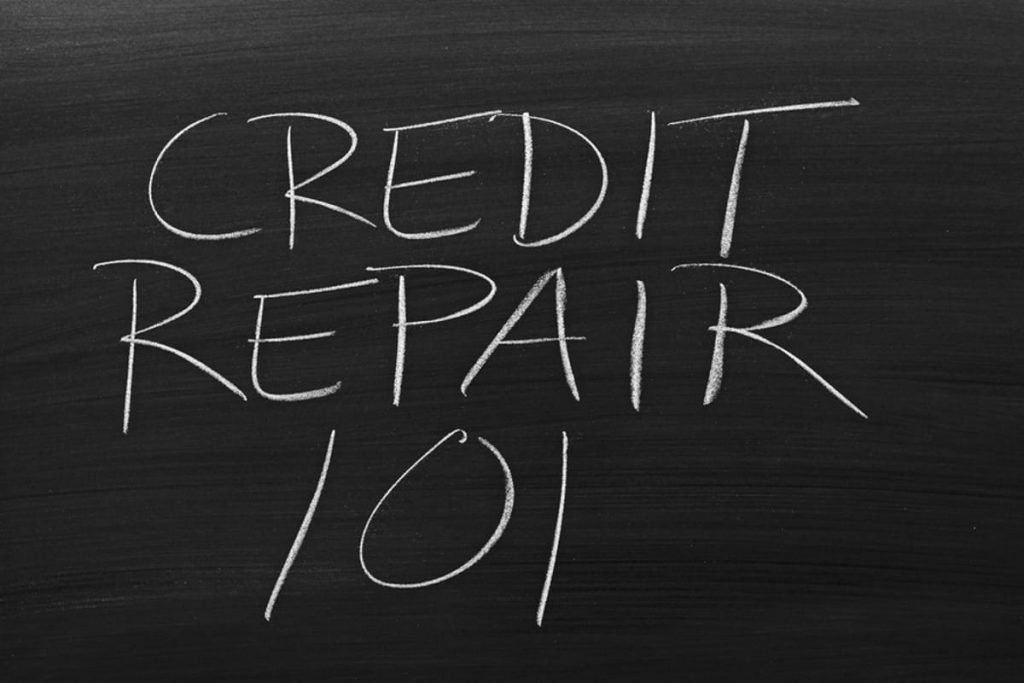 Chalkboard with credit repair 101 written.
