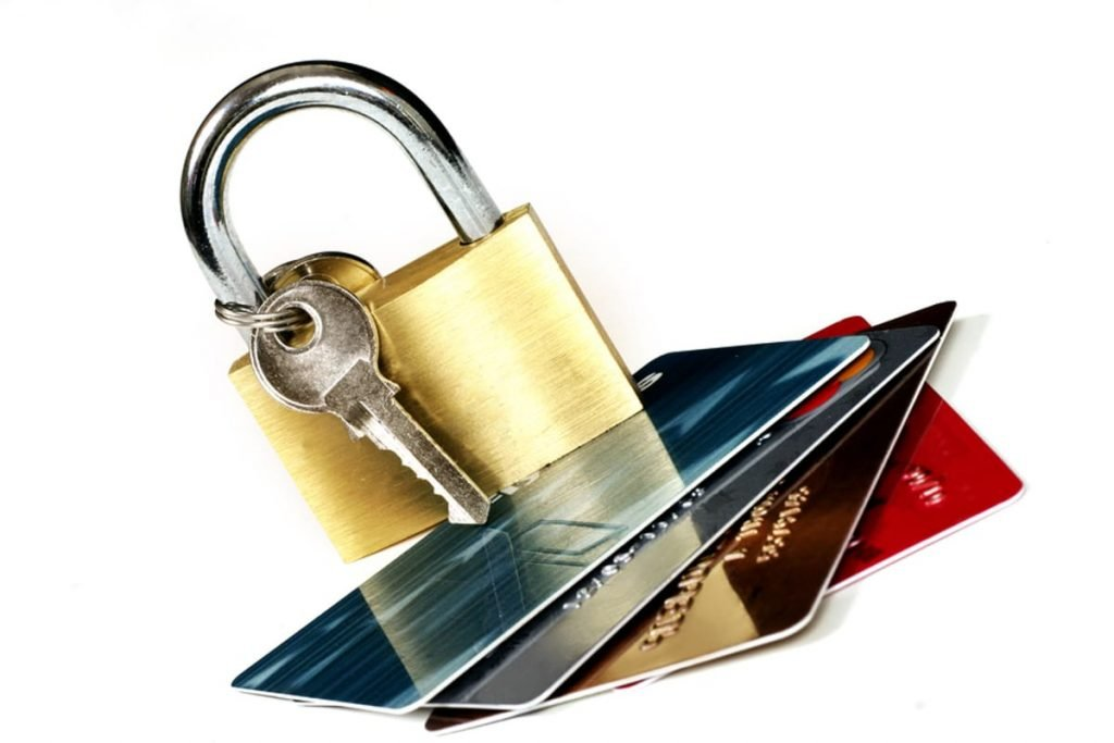 Credit cards with lock and key.