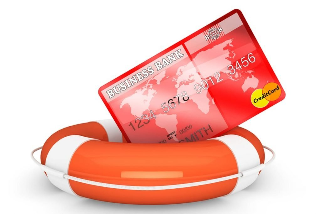 Credit card in a life raft.
