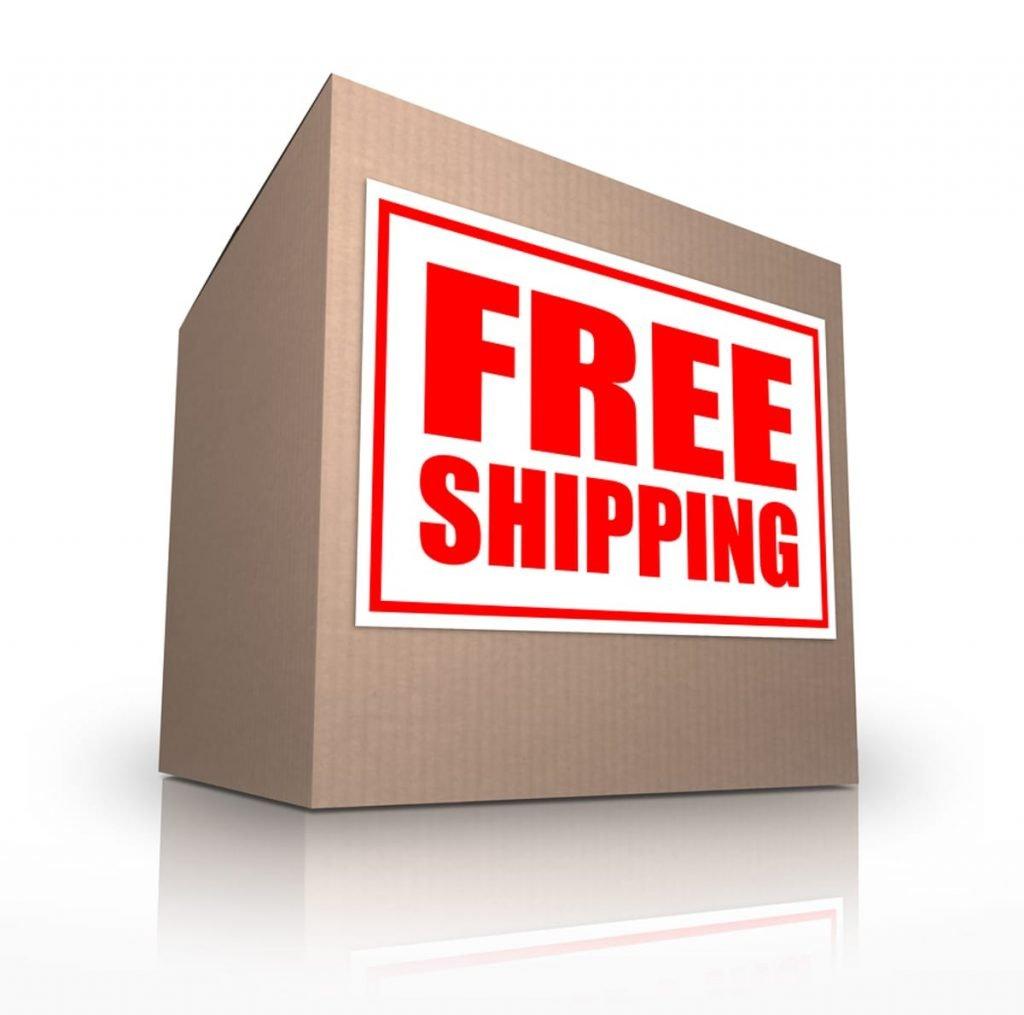 Cardboard box labeled Free Shipping.